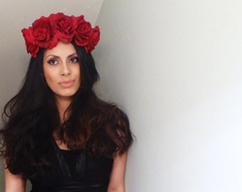 GORGEOUS Flower Crown, Floral Crown, Red Flower Crown