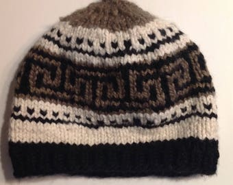 Cowichan style knitted hat. Large,  heavy duty, warm, machine washable and dry-able.