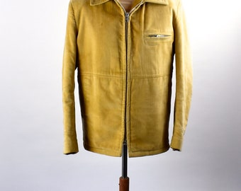 1960's Camel Colored Corduroy Jacket by Casual Craft of New York, Size 40 Regular, Faux Shearling Lined