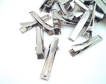 Small 35mm Silver Alligator Clips Hair Clips Barrettes, C59