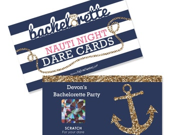 Bachelorette Party Game - Last Sail Before The Veil - Personalized Nautical Party Scratch Off Dare Cards - Bridal Shower Game - 22 ct.