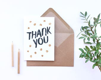 SALE** Thank you card, gold greetings card, hand finished gold foiled card, polka dots, A6 card with envelope, gold foil, brush lettering
