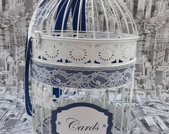 Wedding Birdcage Card Holder,  White and Navy Blue Wedding Card Box, White Lace Wedding Decor, Brooch Money Box