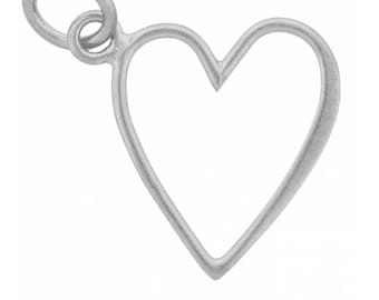 Sterling Silver 20 x 12mm Open Heart Charm  - 1pc High Quality Made in Thailand 15% discounted (4407)/1