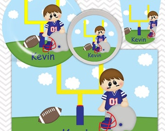 Football Boy Plate, Bowl, Cup, Placemat - Personalized Football Dinnerware for Kids - Custom Tableware