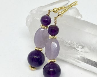 Lilac lepidolite and amethyst earrings, lilac lepidolite jewelry, lilac lepidolite earrings, purple stone earrings, amethyst jewelry