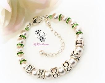 Personalized Bracelet Little Girl Bracelet Birthstone Bracelet Personalized Baby Gift Little Girl Jewelry Baby Shower Gift Baby Gift