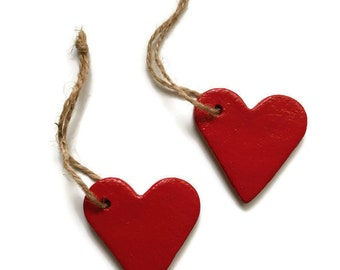 Salt Dough Ornaments / Set of 2 / Red Heart Ornament / Ornaments Set / Valentine Heart / Heart Ornament