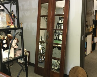 Antique Mirror made from Barn Doors reclaimed from a 1910 farm in Rutherfordton, NC. Large Rustic Floor Mirror reclaimedfrom a Barnyard