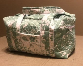 Quilted Sage Floral Scroll 14 inch Duffle Bag