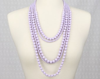 Multi Strand Statement Necklace Multi Layered Beaded Necklace Long Necklace Chunky Necklace Lavender Purple