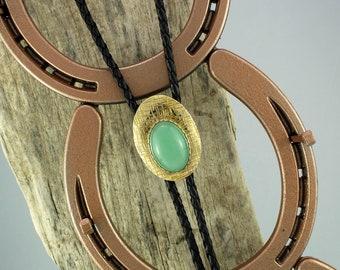 Western Bolo Tie-Natural Green Aventurine Bolo Tie-Cowboy Bolo Tie - Handmade Bolo Tie - Brass Bolo Slide with a Natural Aventurine Stone