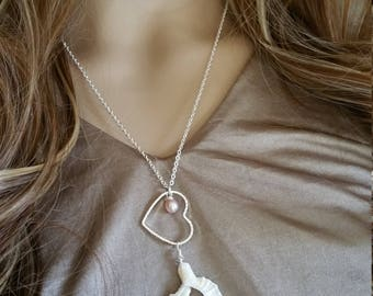 Hawaiian Jewelry Shell Necklace, Hawaii Jewelry Heart Necklace, Sea Shell Pendant Seashell Necklace Shell Jewelry Wedding Jewelry Bridesmaid