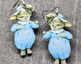 Cat Earrings / Handmade Wood Earrings / Stainless Steel / Handmade Jewelry / Curious Cat / Kitty Earrings / Peter Rabbit Cat / Cat Jewelry