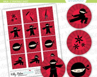 Ninja Power - 2 inch Circle Digital Collage Sheet - Commercial use for Cupcake Toppers, Magnets, Paper Crafts and Products
