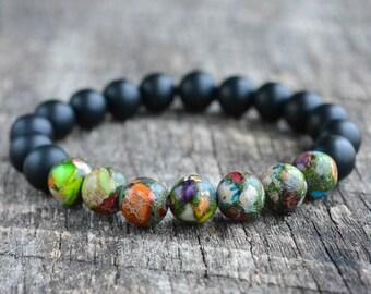 Colorful Impression Jasper & Onyx • Black Bead Bracelet • Women / Mens Gemstone Bracelet • Stacking Bracelet • Stretch Bracelet