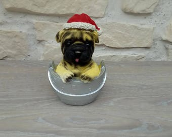 Christmas decoration Santa Claus bouldogue dog