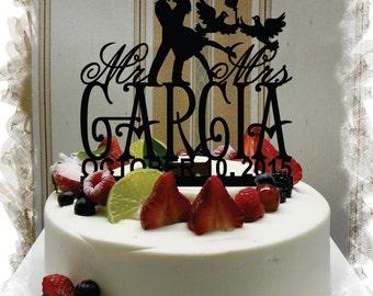 Wedding Cake Topper,Cake Topper for Wedding , Customized Wedding Cake Topper, Personalized Last Name Cake Topper, Mr and Mrs Cake Topper #63