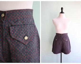 Vintage 1970's Nautical Polka Dot High Waist Shorts |  Extra Small