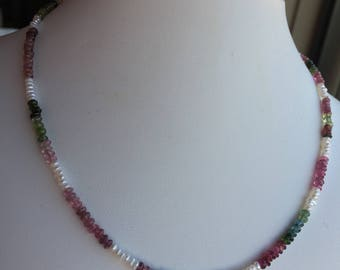 Necklace — Tiny Sterling Elephant Charm, Watermelon Tourmaline, Freshwater Pearls