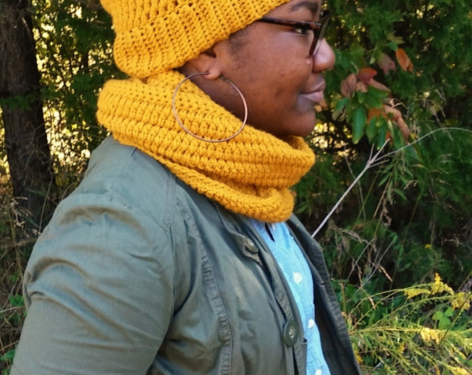 Mustard Yellow Crochet Pom Pom Beanie and Infinity Scarf Set (CHOOSE YOUR COLORS)