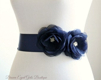 Blue Bridal Sash , Navy Wedding Belt, Blue Bridal Belt, Navy Blue Chiffon Bridal Sash, Blue Sash, Navy Sash, Navy Blue Belt