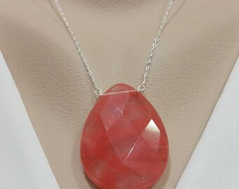 Cherry Quartz Necklace - Bold, Huge Pendant, Her Gift, Her Necklace, Statement Jewelry