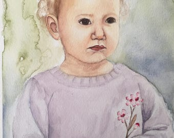 Custom watercolour portrait - child or baby portraits make a great gift idea or artwork for your home