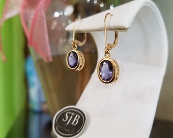 Iolite Earrings, 14k Iolite Dangle Earrings, Blue Iolite Earrings, 14k Yellow Gold Iolite Leverback Earrings, Blue Gemstone Earrings, #E223