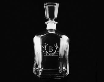 Antlers Whiskey Decanter, Engraved Monogrammed Gift, Etched Decanter, Groomsmen Gifts, Best Man, Wedding Gift Ideas, Custom Decanter
