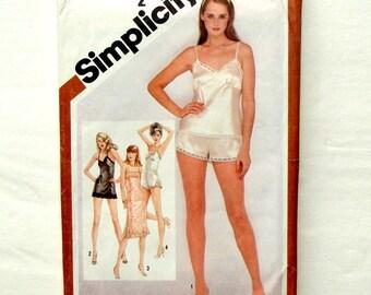 Vintage 1980 Simplicity Lingerie Pattern #9859 - Sz 12 (Bust 34) - Slip, Teddy, Camisole & Pants