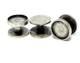 6 pcs  12 x 8 mm 10 mm setting cufflink antique silver plated brass studs, shirt collar tuxedo stud, 1697