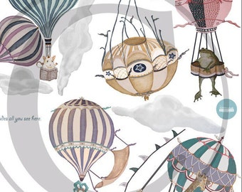 Choice of 1 Ex-Large Animal/girl palette Hot Air Balloon, nursery, toddler, baby, hand painted look, Repositionable fabric, Wall decals,