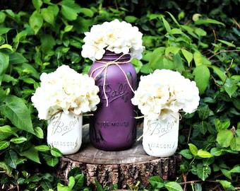 Half Gallon Painted and Distressed Mason Jar Vase Set. Bud Vase. Glass Vase. Floral Arrangement. Flower Holder. Mason Jar Vase. Rustic Vases