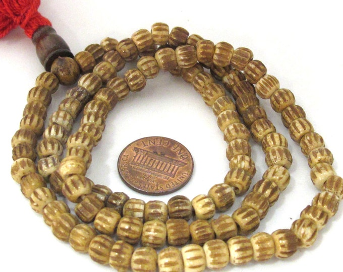 Camel brown 108 Tibetan melon grooved bone mala beads supply small 6 mm size with Guru bead - ML067