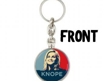 Leslie Knope  Keyring - Keychain- Key Fob - Ovaries before Brovaries- Accessories - Parks and Rec - Parks and Recreation - Galentines