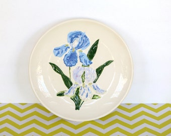 Iris Plate - Vintage Purple and Blue Iris Floral Decorative Plate