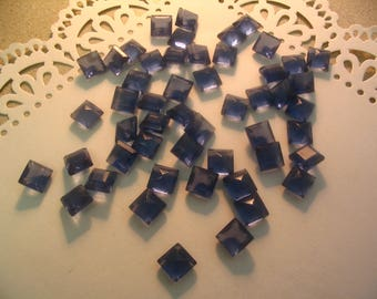 12 Vintage Royal Blue Glass 10mm Cabochons Jewelry Supplies