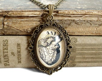 Anatomical Heart Necklace - Antique Anatomy Print Pendant in Bronze - Anatomy Jewelry