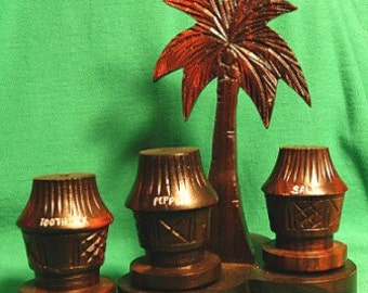 1960s RARE Wooden Drum Shakers w/Toothpick Holder Tree Base Set