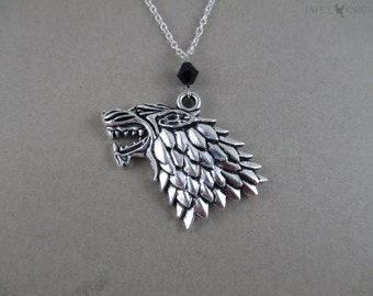 Game of Thrones Stark Direwolf Sigil Necklace - Silver Charm