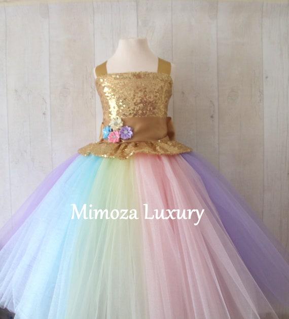Luxury Unicorn Birthday Dress, gold unicorn tutu dress, rainbow unicorn girls dress, sequins unicorn dress, gold unicorn dress, 1st birthday