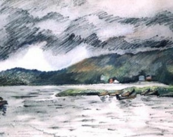 Lake Willoughby, VT, watercolor, pencil, drawing, painting, Vermont, wall art, vintage