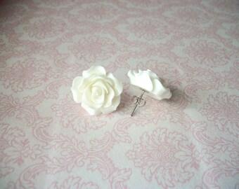 Handmade Large White Rose Earrings, Stud Post Rose Earrings // Bridesmaids Earrings