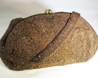 Vintage Bronze Beaded Evening Bag, 1930s-40s