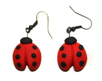 Polymer Clay Ladybug Earrings