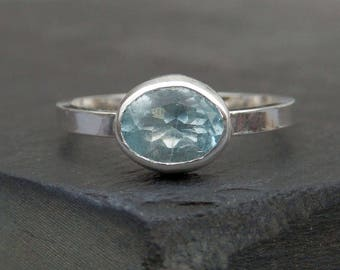 Aquamarine ring / solitaire engagement / aquamarine jewelry / March birthstone / faceted aquamarine / natural aquamarine / ready to ship