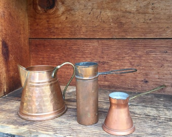 Vintage Hammered Copper Coffee Pot, Turkish Coffee Coffee Cup, Measuring Cup, Copper Kitchen Decor, Copper Utensils, Farmhouse Cabin Kitchen