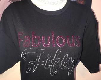 Fabulous 50th/ Birthday Tee/Celebration/Rhinestone Shirt