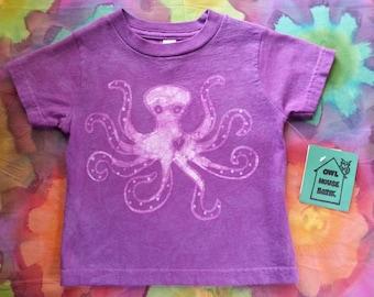 Purple 2T Batik Octopus Tshirt